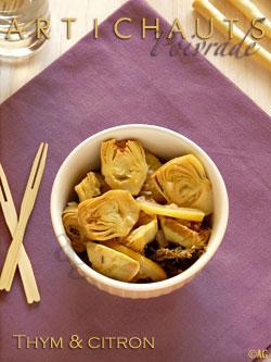 Artichauts poivrade au thym & citrons grillés