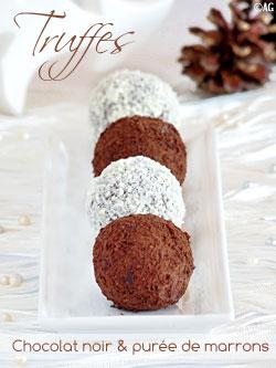 Truffes au chocolat noir & marrons – Lancement du jeu « Noël Gourmand »