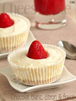 Cheesecake sans cuisson au chocolat blanc, citron & fraise