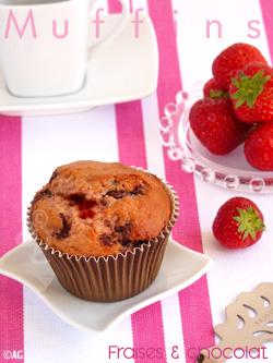 Muffins aux pépites de chocolat & fraises