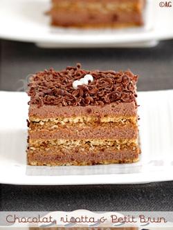 gateau au chocolat, ricotta et petit brun