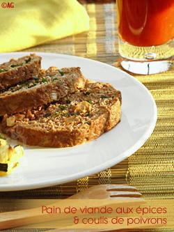 Pain de viande aux épices & coulis de poivrons