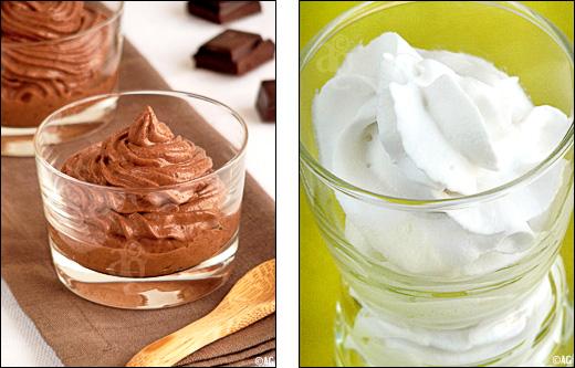Chantilly de lait de coco ou Mousse au chocolat & noix de coco