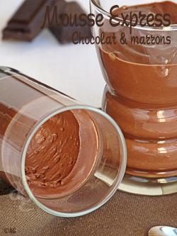 Mousse au chocolat noir & marrons Express