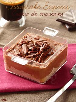 Verrines de cheesecake à la crème de marrons & chocolat (sans cuisson)