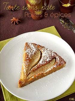 Tarte sans pâte aux poires, noisettes & épices