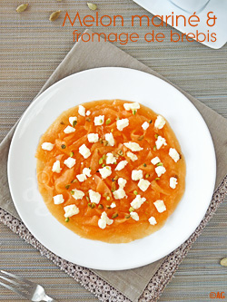 Tagliatelles de melon marinées & fromage de brebis