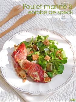 Salade de blancs de poulet marinés & enrobés de jambon speck