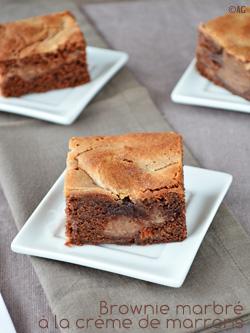 brownie marbré à la crème de marrons