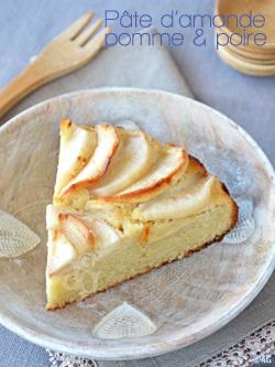 Gâteau à la pâte d'amande, pomme & poire