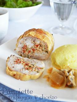 Paupiettes de cuisse de poulet aux champignons & chorizo