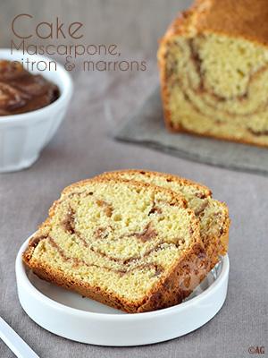 Cake au mascarpone, zestes de citron & marbré à la crème de marrons