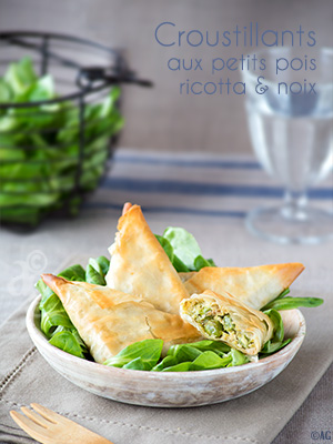 Croustillants aux petits pois, ricotta & noix