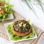 champignons farcis aux épinards, fromage de chèvre et noix - Alter Gusto