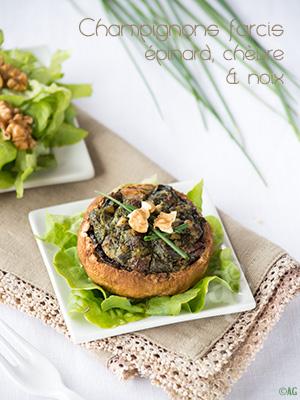 Champignons farcis aux épinards, fromage de chèvre & noix