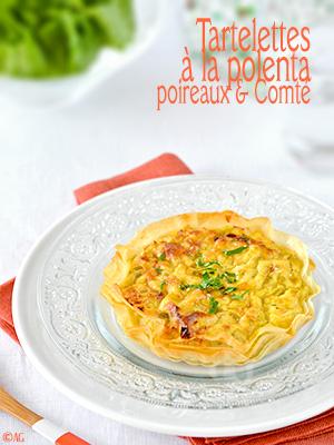 Tartelettes croustillantes à la polenta, poireaux & Comté