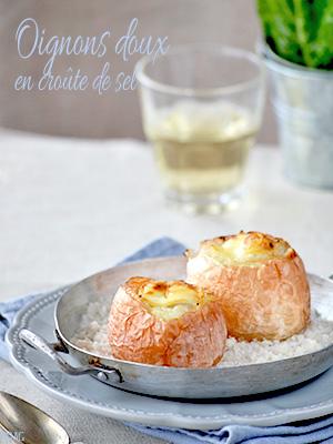 Oignons doux en croûte de sel & farcis au fromage de chèvre