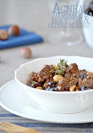 Agneau au romarin, noisettes & olives noires