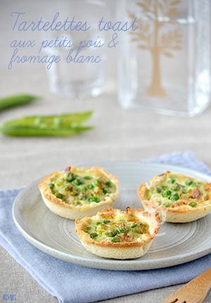 Tartelettes toast aux petits pois & fromage blanc