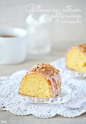 Gâteau au citron, petits suisses & amande