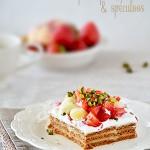 Gâteau aux fruits frais, vanille & spéculoos (sans cuisson)