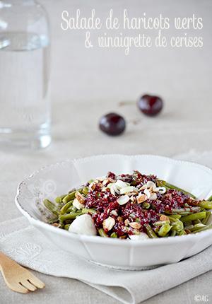 Salade de haricots verts, amande & vinaigrette de cerises