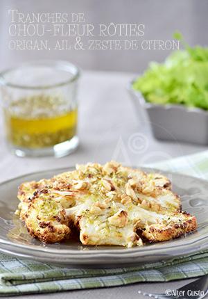 Tranches de chou-fleur rôties – Sauce à l'origan, ail & zeste de citron