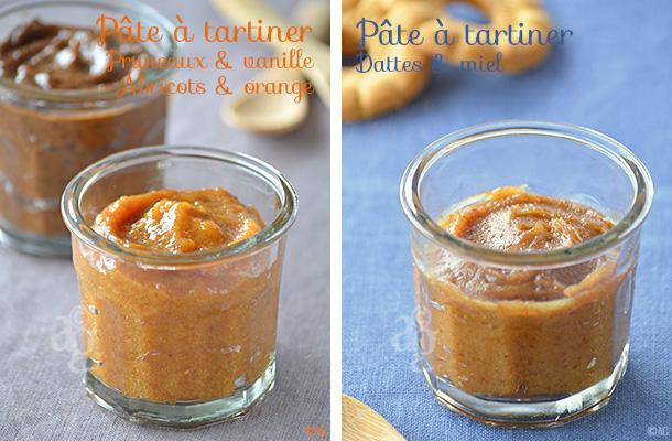 Pâtes à tartiner aux fruits secs - Dattes & miel ou Abricots & orange ou Pruneaux & vanille