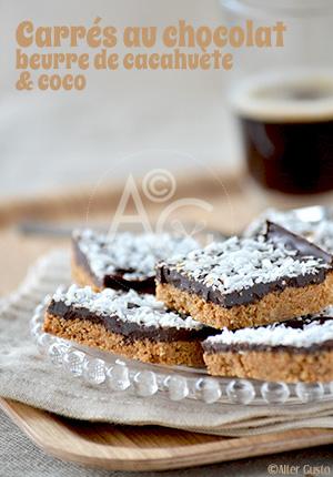 Carrés au chocolat, beurre de cacahuète & coco