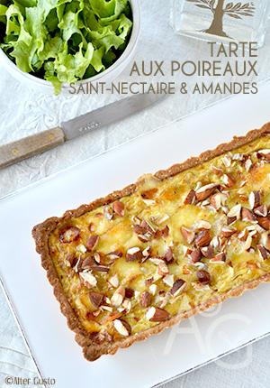 Tarte aux poireaux, Saint-nectaire & amandes