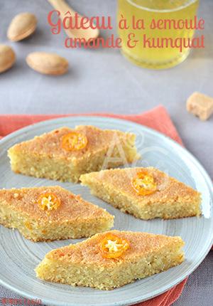 Gâteau à la semoule, amande & kumquat