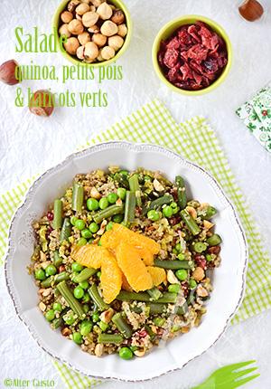 Salade de quinoa, petits pois & haricots verts
