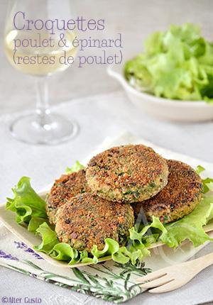 Croquettes de poulet aux épinards – Cuisiner les restes de poulet & Bonnes idées cuisine