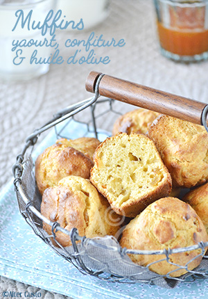 Muffins au yaourt, confiture & huile d'olive