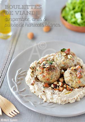 Boulettes de viande au gingembre, anis & purée de haricots blancs