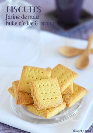Biscuits à la farine de maïs, huile d'olive & orange