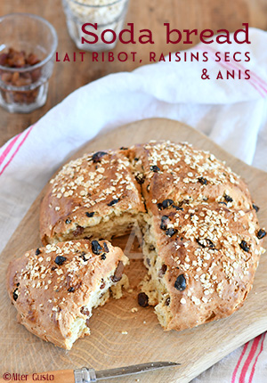 Soda bread au lait ribot, raisins secs & anis