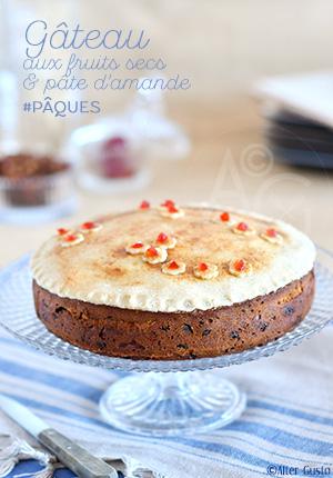 Gâteau aux fruits secs & pâte d'amande façon Simnel cake pour Pâques