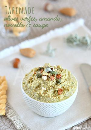 Tapenade d'olives vertes, amande, noisette & sauge