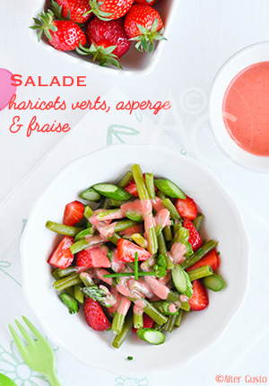 Salade de haricots verts, asperge & fraise