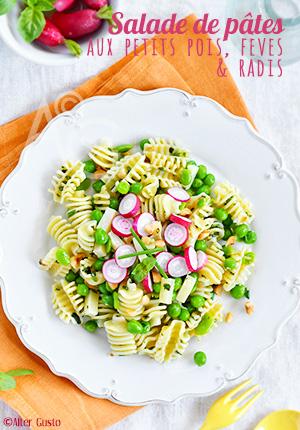Salade de pâtes aux petits pois, fèves & radis