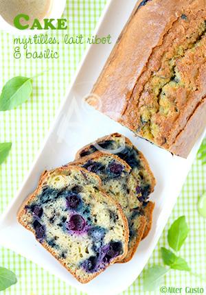 Cake aux myrtilles, lait ribot & basilic