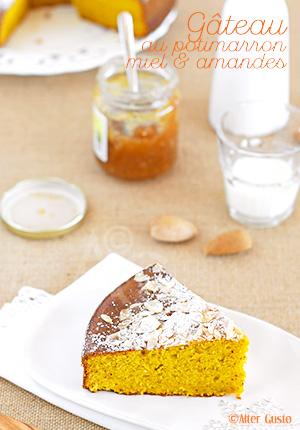 Gâteau au potimarron, miel & amandes