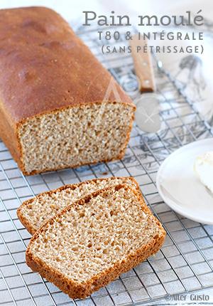 Pain moulé aux farines T80 & intégrale (sans pétrissage) – sandwich bread
