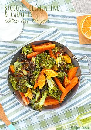 Brocoli, clémentine & carottes rôtis au thym