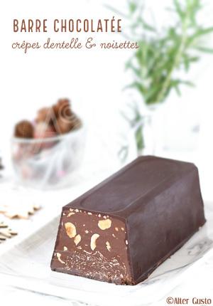 Barre chocolatée aux crêpes dentelle & noisettes