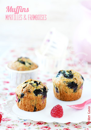Muffins aux myrtilles & framboises