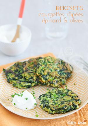 Beignets de courgettes râpées, épinard & olives