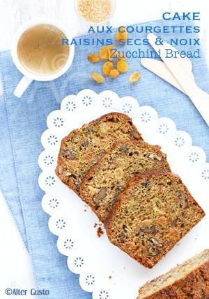 Cake aux courgettes, raisins secs & noix – Zucchini Bread