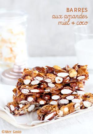 Barres aux amandes, miel & coco